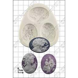 View the 3 Large Cameos silicone icing mould set online at Cake Stuff