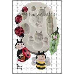 View the Peapod Baby & Ladybirds silicone icing mould online at Cake Stuff