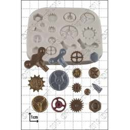 View the 15 pc Steam Punk Cogs & Gears silicone icing mould set online at Cake Stuff