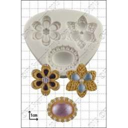 View the Three Brooches silicone icing mould online at Cake Stuff