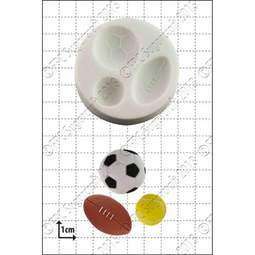 View the 3 Sport Balls silicone icing mould set online at Cake Stuff