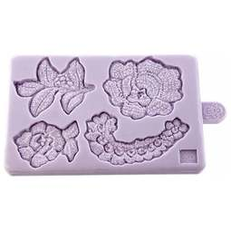 View the Lace Rose Cut Out Pieces 4 silicone icing sugarcraft mould online at Cake Stuff