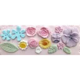 View the 15 pc FLOWER BUTTON silicone icing mould set online at Cake Stuff