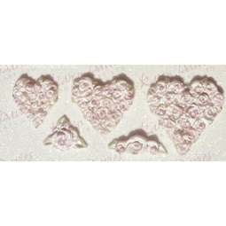 View the Piped Rose Hearts silicone icing mould set online at Cake Stuff