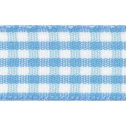 View the SKY BLUE 15mm x 20m Gingham check ribbon online at Cake Stuff