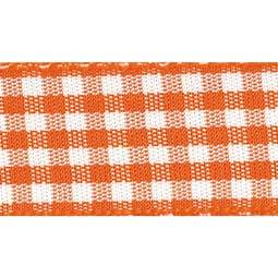 View the ORANGE DELIGHT 15mm x 20m Gingham check ribbon online at Cake Stuff