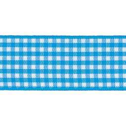 View the PEACOCK Blue 15mm x 20m Gingham check ribbon online at Cake Stuff