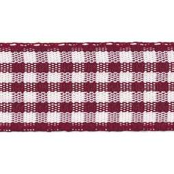 View the BURGUNDY 15mm x 20m Gingham check ribbon online at Cake Stuff