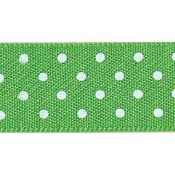 View the MEADOW GREEN 15mm x 20m Micro Dots ribbon online at Cake Stuff