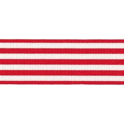 View the RED STRIPES 16mm x 25m satin cake ribbon online at Cake Stuff