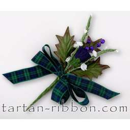 View the Black Watch tartan ribbon buttonhole / cake spray online at Cake Stuff