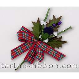 View the Royal Stewart tartan ribbon buttonhole / cake spray online at Cake Stuff