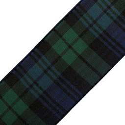 View the Ralph Lauren Black Watch 38mm Scottish tartan plaid ribbon x 25m reel online at Cake Stuff
