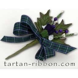 View the Modern Douglas Scottish tartan ribbon buttonhole / cake spray online at Cake Stuff