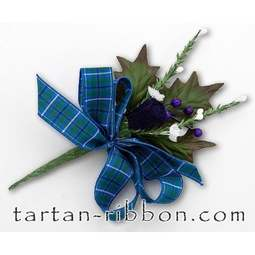 View the Ancient Douglas Scottish tartan ribbon buttonhole / cake spray online at Cake Stuff