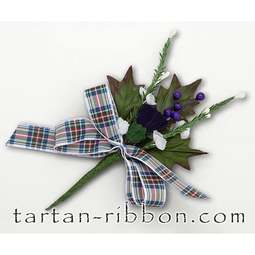 View the Dress Stewart tartan ribbon buttonhole / cake spray online at Cake Stuff