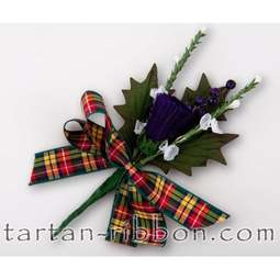 View the Buchanan tartan ribbon buttonhole / cake spray online at Cake Stuff