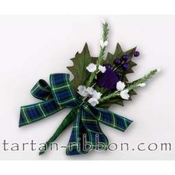 View the Campbell tartan ribbon buttonhole / cake spray online at Cake Stuff