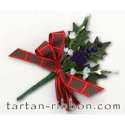 View the Cameron tartan ribbon buttonhole / cake spray online at Cake Stuff