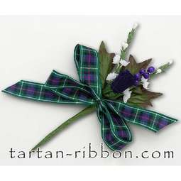 View the MacKenzie tartan ribbon buttonhole / cake spray online at Cake Stuff