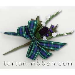 View the Rose tartan ribbon buttonhole / cake spray online at Cake Stuff
