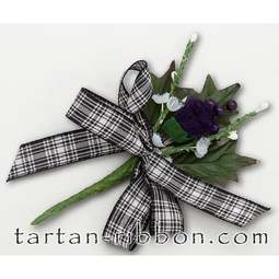 View the Menzies tartan ribbon buttonhole / cake spray online at Cake Stuff