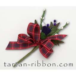 View the Fraser tartan ribbon buttonhole / cake spray online at Cake Stuff