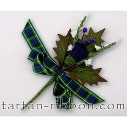 View the Gordon tartan ribbon buttonhole / cake spray online at Cake Stuff