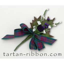 View the Lindsay tartan ribbon buttonhole / cake spray online at Cake Stuff
