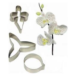 View the metal MOTH ORCHID 3 pc sugar flower cutter set online at Cake Stuff