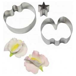 View the metal SWEET PEA & CALYX 3 pc icing cutter set (small) online at Cake Stuff