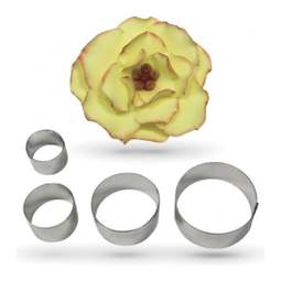 View the metal BRIAR ROSE PETAL 4 pc sugar flower cutter set online at Cake Stuff
