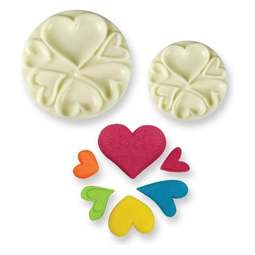 View the HEARTS Pop It 2 pc icing mould cutter set online at Cake Stuff