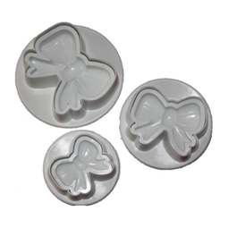 View the *PROMO* BOWS & TAILS 3 piece icing plunger cutter set online at Cake Stuff