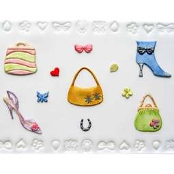 View the 11 pc SHOES, BAGS & CONFETTI icing sugarcraft cutter set online at Cake Stuff