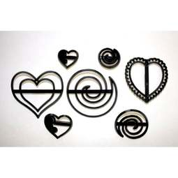 View the 7 pc SWIRLS & HEARTS icing sugarcraft cutter set online at Cake Stuff