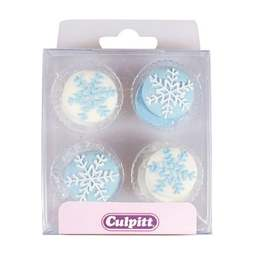 View the pk 12 SNOWFLAKES edible icing pipings cake cupcake decorations online at Cake Stuff