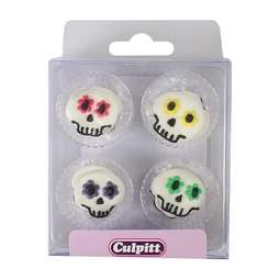 View the pk 12 PARTY SKULL edible icing pipings cake cupcake decorations online at Cake Stuff