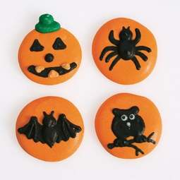 View the pk 12 HALLOWEEN BUTTON edible icing pipings cake cupcake decorations online at Cake Stuff