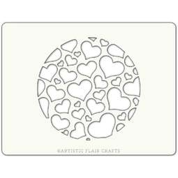 View the LOVE BURST ROUND professional cake stencil online at Cake Stuff