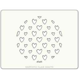 View the SCRAPPY HEARTS ROUND professional cake stencil online at Cake Stuff