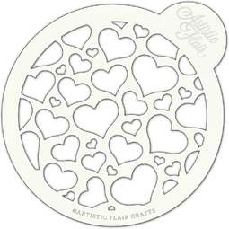 View the LOVE BURST large professional cake top stencil online at Cake Stuff
