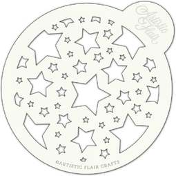 View the STAR BURST large professional cake top stencil online at Cake Stuff