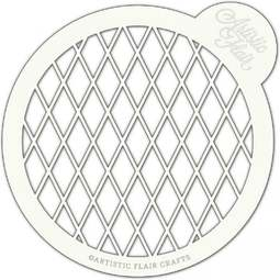 View the HARLEQUIN LATTICE large professional cake top stencil online at Cake Stuff