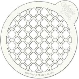 View the MOROCCAN TRELLIS large professional cake top stencil online at Cake Stuff