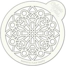View the MOSAIC MANDALA large professional cake top stencil online at Cake Stuff