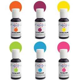 View the SET 6 ELECTRIC competition gel paste icing colourings 21g online at Cake Stuff