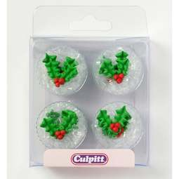 View the pk 12 HOLLY & BERRY edible icing pipings cake cupcake decorations online at Cake Stuff