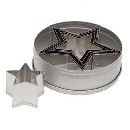 View the STAR 6 piece stainless steel icing cutter set online at Cake Stuff