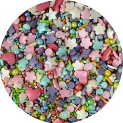 View the ENCHANTED MIX edible confetti & cupcake sprinkles 100g online at Cake Stuff
